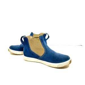 Elephantino blue sued slip on high top sneakers